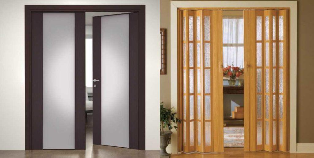 дверь межкомнатная складная и обычная
